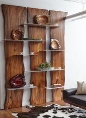 Wall Shelf Made of Suarina Root Wood / Natural Finish / Aluminum Shelves