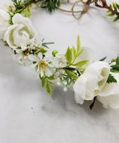 White Flower Crown, Bridal Flower Crown, Flower Crown, Bridal Hair Accessories, Bride Hair Piece, Flower Girl Crown, Crown, Flower Headband