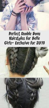 Perfekte Double Buns Frisuren für Belle Girls - exklusiv für 2019 #dyedhairMen #dyedhairLavender #dyedhairSilver #dyedhairEmo