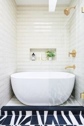 Bathroom Design With Walk-In Shower And Freestanding Bathtub