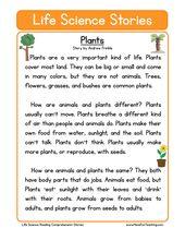 Plants Life Science Reading Comprehension Worksheet