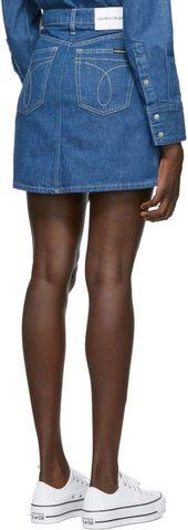 Calvin Klein Jeans: Mini-jupe à taille haute bleue | SSENSE – Look – #blue # …   – Jupes