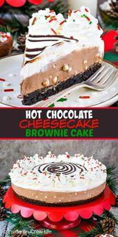 Hot Chocolate #cheesecake Brownie Cake – layers of no bake hot chocolate cheesec…