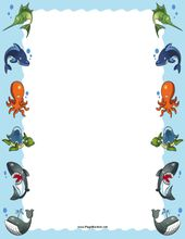 Cute Colorful Sea Animals Like An Octopus Whale Turtle Shark And Swordfish Line The Edges Of This Printable Oce Sea Animals Picture Borders Ocean Pictures