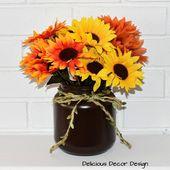 Fall Mason jar With 3 Sunflowers/Fall Wedding Decor/Rustic Decor/Farmhouse Decor/Mason Jar Decor/Thanksgiving Table decor/Half Gallon Jar