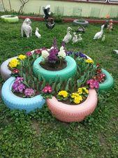 Wir bringen die Dekoration im Garten mit diesen unglaublichen DIY-Ideen von bunten Töpfen aus alten Reifen in Schwung – Judy MacDonald – Diy