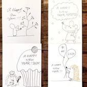 2020年干支ねずみ年 おしゃれなネズミの手書きイラスト 年賀状の簡単アイデア40作品 白黒ペン 筆ペン 子供向けの簡単イラスト などなど 手作り年賀状の作り方 イラストアイデア多数あり 年賀状 手書き デザイン 年賀状 デザイン ねずみ年