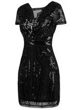 1920s Short Prom Dresses V Neck Inspired Sequins Cocktail Flapper Dress – X-Small Pure Black