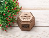 Personalized Ring Box, Rustic Wedding Ring Bearer Pillow, Engagement Proposal Ring Holder, Wood Ring Holder Engraved with Couple Names   – Ineses Wedding Gallery