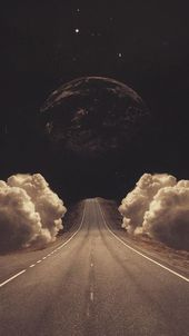 Jasmine Surreal Art Collage Road Clouds Planets iPhone 6 Wallpaper – # Bew …