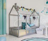 Tente de jeu pour les nourrissons: maison de lit Montessori avec ou maison de lit Montessori avec lattes   – Paulas Kinderzimmer