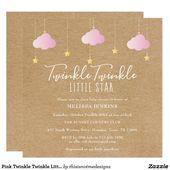 Baby Showers Twinkle Pink Twinkle Twinkle Little Star Baby Shower Boho Invitation