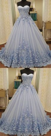 Gorgeous Ball Gown Sweetheart Light Blue Lace Long…