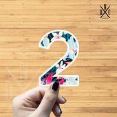 "Number ""2"" Tropical Vinyl Sticker, Best Friend Gift, Laptop Decals, Name Stickers, Monogram, Macbook"