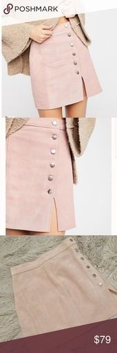 Free People Understated Suede mini skirt NWOT Soft pink suede, never worn. Butto…
