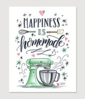 Kitchen Wall Decor – Kitchen Sign – Bakery – Bakery Art – For the Baker – Happiness is Homemade – Kitchenaid