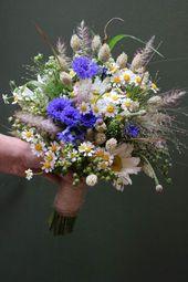 Seasonal Flowers Bridal Bouquet Canal Edge Field Flowers Cornflowers Margueritte