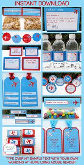 Airplane Party Invitations & Decorations – full Printable Package – Boarding Pass – INSTANT DOWNLOAD – EDITABLE text – you personalize