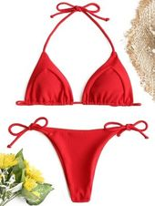 Ribbed String Bikini Set – Red S