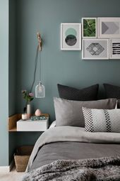 blue green wall bedroom scandinavian with wall art…