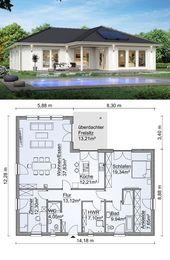 Bungalow préfabriqué avec une architecture en croupe et 3 pièces en rez-de-chaussée, cuisine …