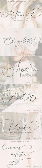 Antoinette / / moderne Kalligraphie №18 von PeachCreme auf Creative Market #script #f …