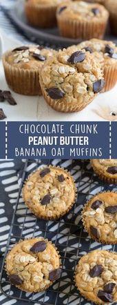 Chocolate Chunk Peanut Butter Banana Oat Muffins a…