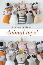 Tier Schnittmuster PDF-Tutorial Tierpuppe gefüllt Handgefertigtes Spielzeug Stoff Tiergeschen…