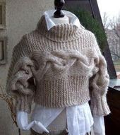 BRAIDED SHRUG modern urban in caffee latte, hand knitted shrug bolero sweater, winter fall fashion, gift under 100 dollars – Tricotaj
