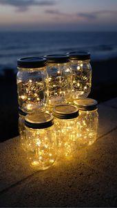 Firefly lumières et Mason Jar, en plein air, la foudre, rustique, lampions, Mason Jar lumières, guirlandes, lumières mariage, mariage Centre de table