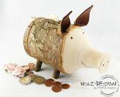 Sparschwein Holz Spardose Geldgeschenke Schwein von Holz  Design auf DaWanda.co … – SELBERMACHEN