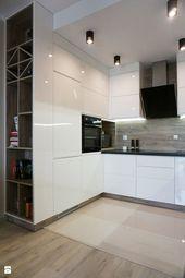 Interior Design – Kitchen: Modern kitchen with shiny fronts – WOSMEBL – #De …, #Design #F …