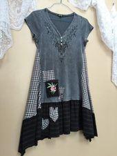 Upcycled Eco Kleid Shabby Chic Boho Patchwork Gypsy TShirit Tunika, grau schwarz Hi