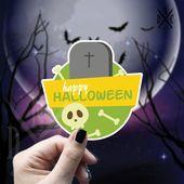 Happy Halloween Skull Vinyl Sticker, Halloween Stickers, Skull Stickers, Decal, Macbook Decal, Stick