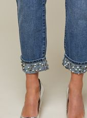 MOM – Jewel – Turn-up-Jeans in mittlerer Waschung mit hoher Taille