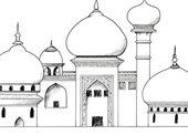 Palast aus 1001 Nacht – Palast, Tempel, Residenz, Orient, 1001 Nacht, Märchen, Zwiebeltürmchen, exotisch, Vorlage, Zeichnung, Bauwerk, prunkvoll, He…