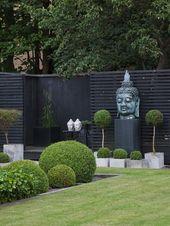 jardín con césped y esculturas zen #zengarden #zen #garden #pool  – garden ideas