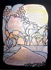 Cherry Tree Pathway Ketubah – Papercut-Hochzeits-Grafik – Kalligraphie   – Products