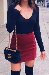 Winter Date Night Corduroy Skirt Outfit Idea