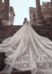 Glitzernde florale Brautkleider | Durchsichtig Hals langen Ärmeln Ballkleid Brautkleider