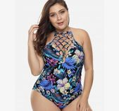 e0ecc6131bb Ruffle Trim Halter Neck Plus Size Printed Swimwear