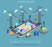 Mobile technology operating system creative process visualization flat 3d web isometric infographic concept vector template. Crane