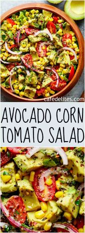 Avocado Corn Tomato Salad with a lime juice dressing is delicious served on its …