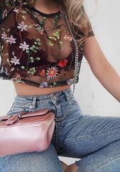 sheer embroidered top. Vintage denim with high waist. ❁sara ❁ for more fashi …