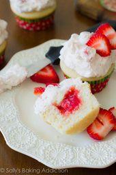 100% hausgemachte Erdbeerkuchen #cupcakes ~ T ~ das ist so einfach! Ein feuchter Vani …