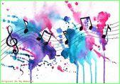 Kunst Bilder ideen – aquarell noten musik-symbole auf abstrakte aquarell strukturierten hinte – #aquarell #bilder #ideen #kunst #musik