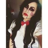 Halloween costume – the doll from the horror movie saw #halloween #makeup