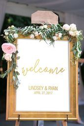 Moderne Hochzeit Willkommensschild  Gold Hochzeit –