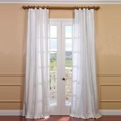 Exclusive Fabrics & Furnishings Lily White Room Darkening Textured Dupioni Silk Curtain – 50 in. W x 84 in. L