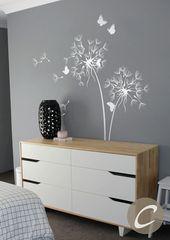 Pusteblume Wandtattoo mit Schmetterlinge Kinderzimmer Wand Aufkleber Wand Aufkleber Wand Dekor Wand Kunst wieder ablösbare Aufkleber Aufkleber Wandkunst-AM026